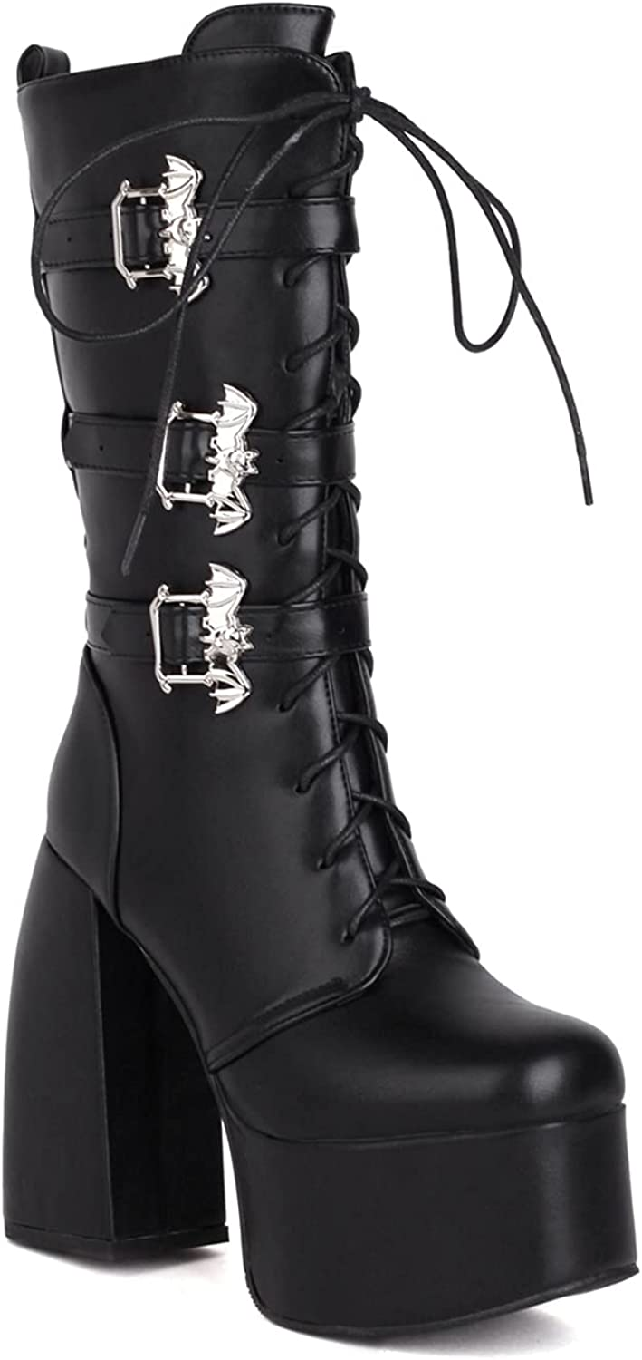 WETKISS Women's Mid Calf Boots Lace Up Boots Patent Leather Bat Buckle Ankle Boots Side Zipper Square Toe Thick Platform Fashion Shoes