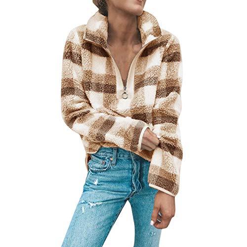 semen Damen Pullover Klasse Karo Hemd Style Plüsch Warm Langarm Sweatshirt Reißverschluss Streetwear Oberteil Fashion Top