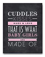 Nursery Art Chalkboard Typography Print in Pink, Perfect Christening, Baptism or New Baby Gift, 8x10 by Ocean Drop Photography