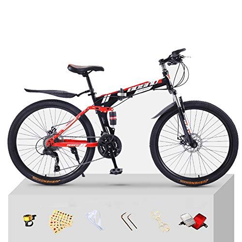 CJCJ-LOVE Pliage De Vélo De Montagne, 26 Pouces Vélo Vélos avec Roues en Acier Au Carbone Intégré pour Adulte Variable Vélos Vitesse Route,Red+Black,24 Speed