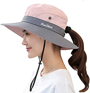 Sun Hats for Women, Women's Ponytail Bucket Hat Outdoor UV Protection Foldable Mesh Wide Brim Beach Fishing Hat