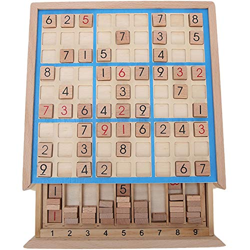 Garosa Juego de Mesa Sudoku de Madera con cajón y 81 Bloques de Madera Digitales para niños o Adultos, Rompecabezas de matemáticas, Juguetes educativos de Escritorio