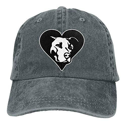 wwoman Gorra de béisbol Hombres Mujeres, Pitbull Heart2-1 Hombre Algodón Ajustable Denim Cap Hat