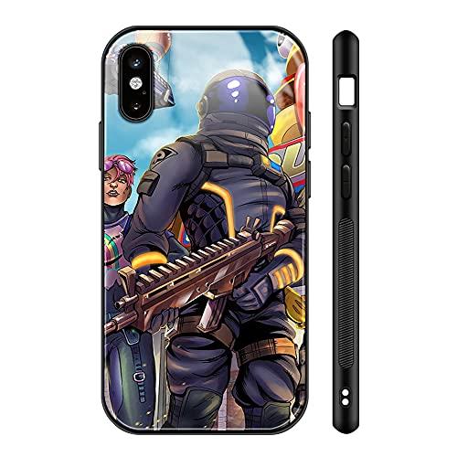 Fortni_te iPhone Xs max Case - Fortni_te Game Phone Case for Girls Men Boy, iPhone Xs max Cases Shockproof Non-Slip Tempered Glass Pattern Design Case for Apple xs max