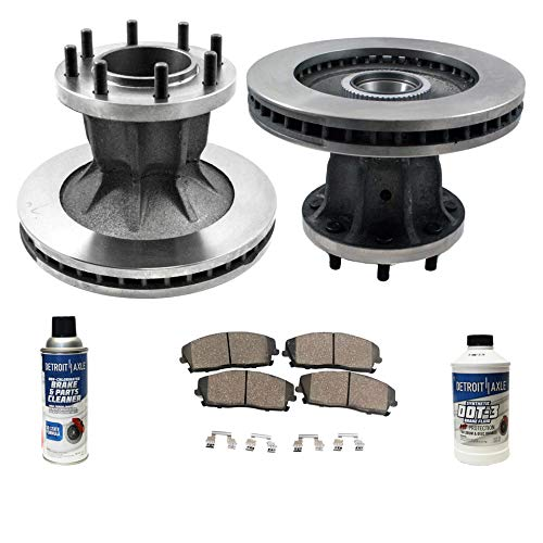 Detroit Axle - Pair (2) 318mm Front Disc Brake Kit Rotors w/Ceramic Pads w/Hardware & Brake Kit Cleaner & Fluid for 1996-2000 Chevy GMC C3500 - [1996-2002 Express 3500/Savana 3500] - DRW
