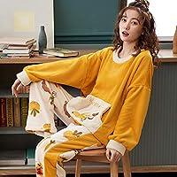 パジャマレディース, レディースウィンタープラスベルベットウォームルーズパジャマ-JM781_L, 女性のTシャツとパンツ長袖寝具
