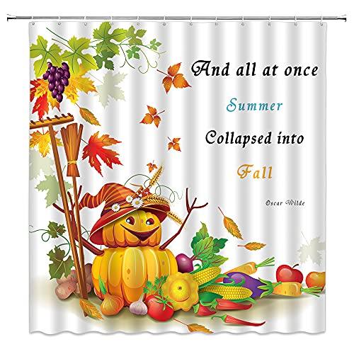 Xegobzz Herbst Thanksgiving Kürbis Duschvorhang Herbst Ahornblätter Pflanze Halloween Design Rezept Ernte Polyester Stoff Badezimmer Dekoration 178 × 178 cm mit Loch