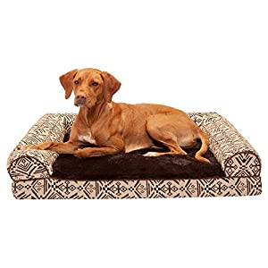 Furhaven Pet Dog Bed – Cooling Gel Memory Foam Plush Kilim Southwest Home Decor Traditional Sofa-Style Living Room Couch Pet Bed with Removable Cover for Dogs and Cats, Desert Brown, Large