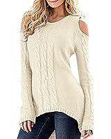 Merryfun Women's Cold Shoulder Sweater Fall Long Sleeve Knit Pullover Tops Beige,L