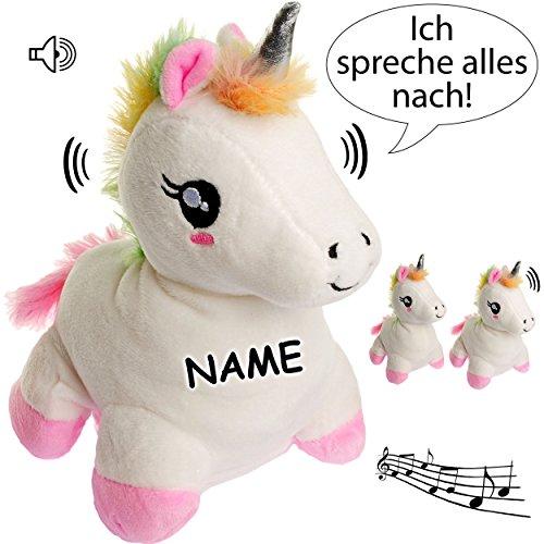 NACH sprechendes - Einhorn - Ich spreche Alles nach & bewege Mich dazu - inkl. Name - aus Stoff / Plüsch - Plüschtier - mit Sound & Bewegung - spricht & p..