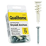 #8 Self Drilling Drywall Plastic Anchors with Screws - No Pre Drill Hole Preparation Required - 75 Lbs