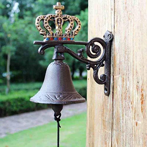 Riyyow Corona de Hierro Forjado Timbre de Hierro Fundido artesanía decoración Vintage jardín Mano Campana Europea Viento Chimes 18x23x10.5cm