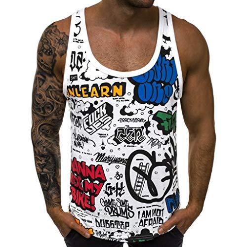 REALIKE Herren Ärmellos Weste Oberteil Graffiti Buchstabenmuster O-Ausschnitt Tank Tops Persönlichkeit Ausbildung Fitness Slim T-Shirt Männer Summer Bequem Atmungsaktiv Blusen