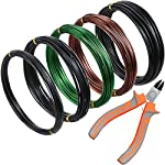 5 Roll Tree Training Wires 160 Feet Total with Bonsai Wire Cutter Anodized Aluminum Wire 1/1.5/2.0 mm Training Wire for… 8 Package includes: 1 piece of wire cutter and 5 rolls of bonsai wires in different colors and sizes, includes 3 rolls of black aluminum wires, 1 roll of green wires, 1 roll of brown wires, different color looks appropriate for display, each roll has 32 feet, 160 ft in total Reliable material: these bonsai wires are made of quality aluminum material, which is not easy to get rust or corrode, flexible material but study enough, can be applied to shape and train many bonsai plant type, would not damage plant; The wire cutter is made of steel and plastic, work well at cutting most wires Easy to use: you can use these bonsai wire to create your desired bonsai shape through bending and repositioning the branches, convenient to use with these reliable material, which can be helpful, especially for a novice, reusable material save your time and money
