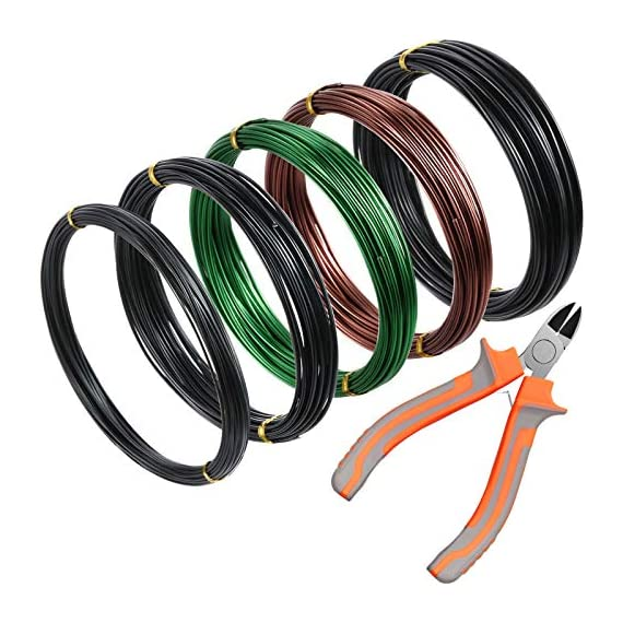 5 Roll Tree Training Wires 160 Feet Total with Bonsai Wire Cutter Anodized Aluminum Wire 1/1.5/2.0 mm Training Wire for… 1 Package includes: 1 piece of wire cutter and 5 rolls of bonsai wires in different colors and sizes, includes 3 rolls of black aluminum wires, 1 roll of green wires, 1 roll of brown wires, different color looks appropriate for display, each roll has 32 feet, 160 ft in total Reliable material: these bonsai wires are made of quality aluminum material, which is not easy to get rust or corrode, flexible material but study enough, can be applied to shape and train many bonsai plant type, would not damage plant; The wire cutter is made of steel and plastic, work well at cutting most wires Easy to use: you can use these bonsai wire to create your desired bonsai shape through bending and repositioning the branches, convenient to use with these reliable material, which can be helpful, especially for a novice, reusable material save your time and money