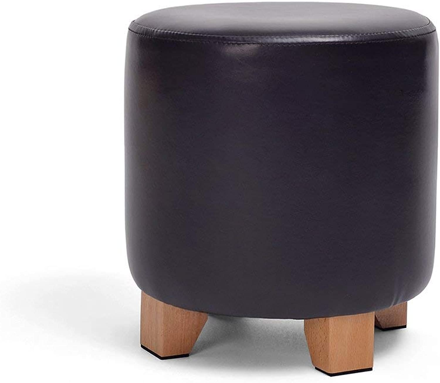 Ronggoutrade Leather Stool shoes Bench Round Pier Stool Sofa Stool Dressing Stool (color   SMA - Black)