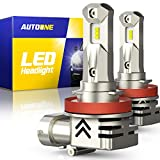 AUTOONE H11 LED Headlight Bulbs H8 H9 LED Bulb, Same OEM Size, 12000LM CANBUS for High, Low Beam Headlamp, Pack of 2