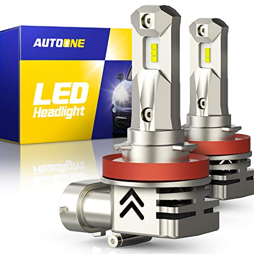 AUTOONE H11 LED Headlight Bulbs H8 H9 LED Bulb, Same OEM Size, 12000LM CANBUS for High, Low Beam Headlamp 6000k White, Pack of 2