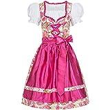 Gaudi-Leathers Dirndl Set 3 tlg. Mimi Blumendruck Bluse + Schürze pink 36