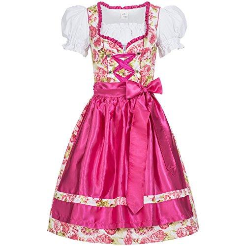 Gaudi-Leathers Damen Dirndl Kleid Dirndlkleid Trachtenkleid Midi Mimi Blumendruck pink 38