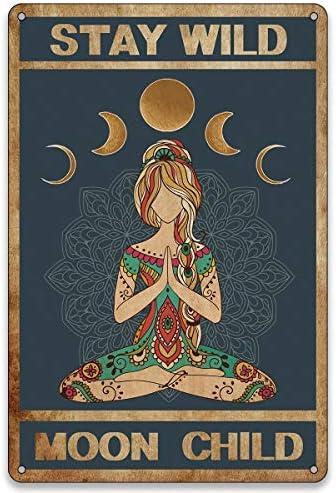 BellowDeer Funny Yoga Wall Decor Vintage Metal Tin Sign Yoga Girl Stay Wild Moon Child Metal product image