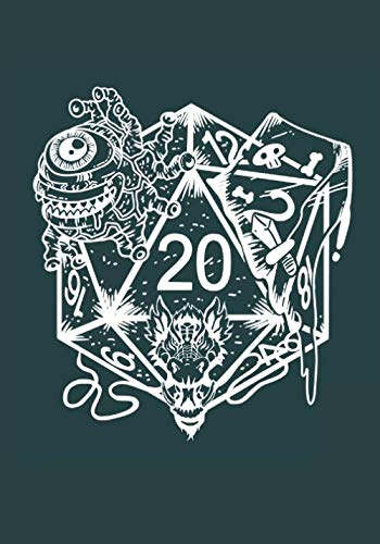 D20 Dice Monster: Tabletop Gaming Notebook: D20 Blank Line And HEX Grid For Tabletop RPG Gaming