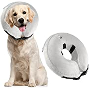 Protective Inflatable Dog Collar, Soft Pet Recovery E-Collar Cone for Small Medium Large Dogs, Designed to Prevent Pets from Touching Stitches, Wounds and Rashes, Does Not Block Vision