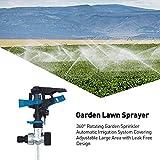 Jatour Sprinkleranlage, 360 ° drehbare Gartensprinkleranlage Automatische Bewässerungsanlage zur Bewässerung Ihrer Rasenpflanzen Blumen Gemüse und mehr