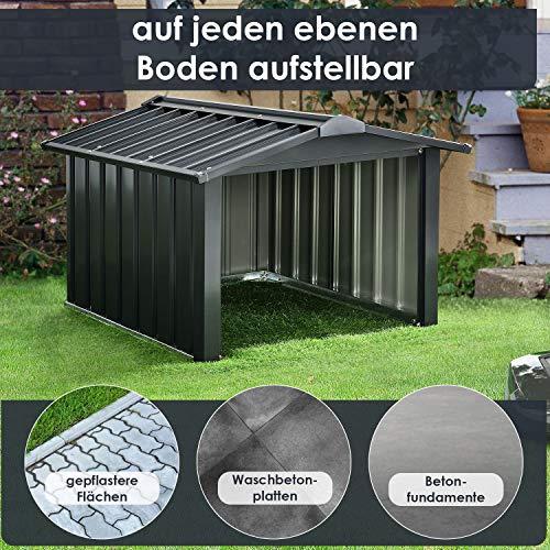 Juskys Metall Mähroboter Garage mit Satteldach - 8
