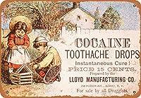 2個 20 * 30CMメタルサイン-1880年代のコカイン歯痛ドロップ メタルプレート レトロ アメリカン ブリキ 看板