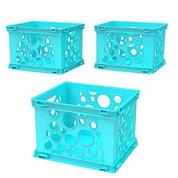 Storex Mini Crate 9 x 7.75 x 6 Inches School Teal Case of 3  61634U03C