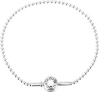 Pandora Essence Beaded Chain Bracelet with Engraved Logo for Women - Silver