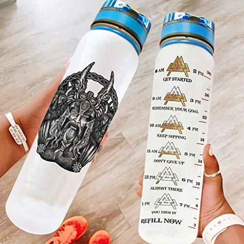 Chicici Fashion Botella de deporte resistente Viking Odin y su lobo Hight Quanlity – Botella con correa de crayo para senderismo, color blanco 1000 ml