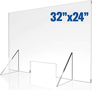 Protective Shield Barrier - Portable Lightweight Sneeze Cough Guard Clear Acrylic for Sales Counter Reception or Nail Salo...