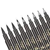 TEPENAR Juego de 9 bolígrafos de caligrafía de color negro, 4 tamaños, para firma, escritura, ilustración, diseño y dibujo