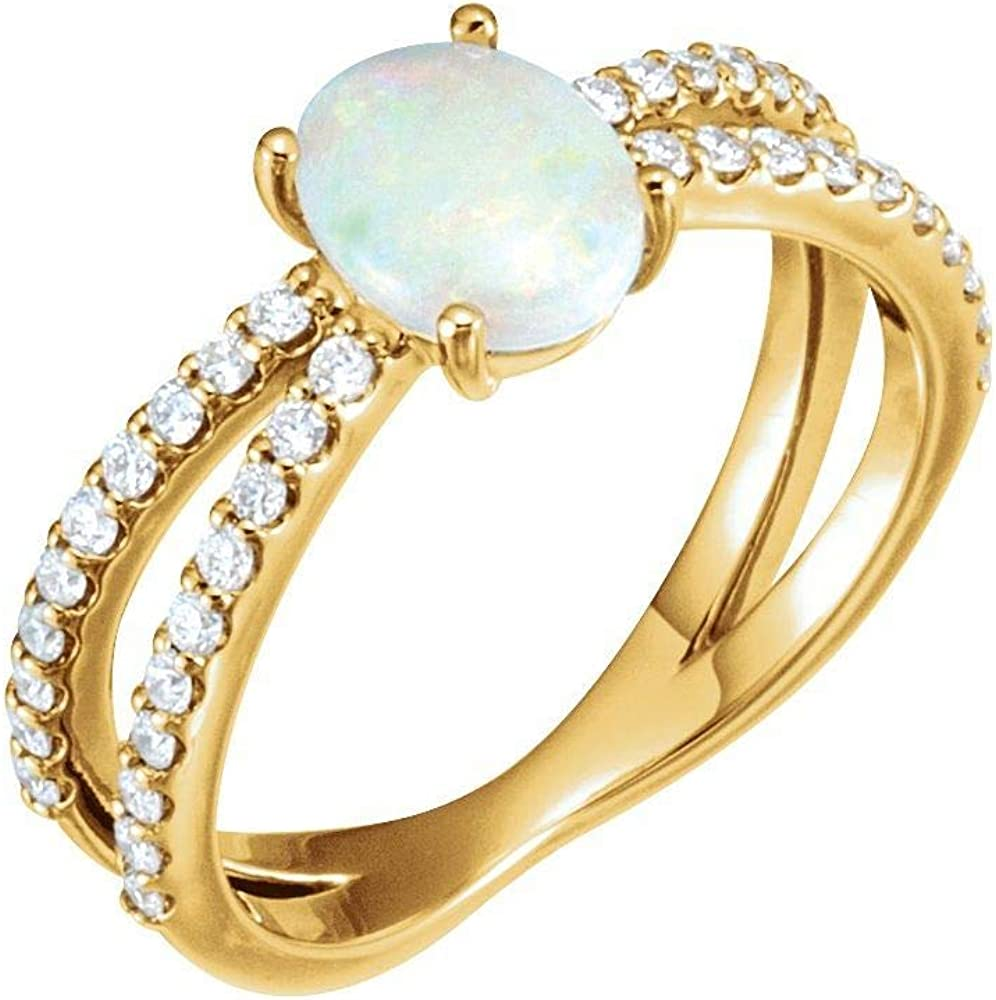 Solid 14k Spring new work Ranking TOP9 Yellow Gold Solitaire Opal and Diamond 1 Cttw 3 Ring B
