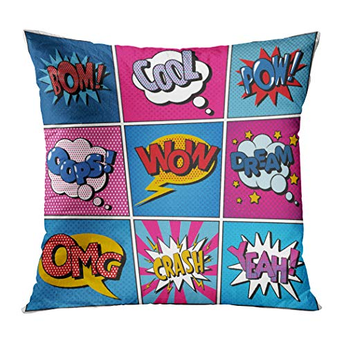 Y·JIANG Cartoon Throw Pillow Cushion Cover, Comic Bubbles Set Cool Pow Oops Wow Soft Velvet Square Cushion Case Couch Cover Pillowcase for Sofa Chair Bedroom, 18 X 18 Inch