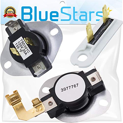 3387134 High-Limit Thermostat 3392519 Dryer Thermal Fuse and 3977767 Cycling Thermostat Replacement kit by Blue Stars - Exact Fit For Whirlpool & Kenmore Dryers - Replaces PS11741405 PS345113 AP600832
