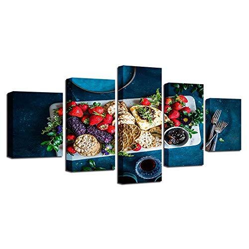 CJFHBVUQ Leinwand Kunstdruck 5-Teiligen Schönes Essen Am Tisch Wanddeko Leinwandbild Hotel Büro Mit Rahmen 80X150Cm