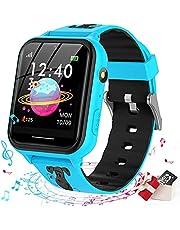 Smooce smartwatch kind Telefoon, kids smartwatch Muziekspeler met Sd-kaart 7 Puzzel Games Call SOS Camera Alarm Recorder Calculator Mp3 voor Verjaardag Speelgoed Kinderen Jongens Meisjes (blue)