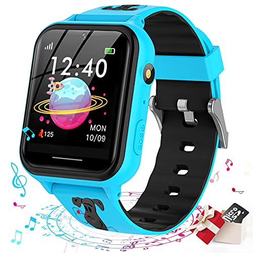 Smooce Smartwatch para Niños, Reloj Inteligente niño, Reloj Teléfono para Niña y Niño Pantalla Táctil con Música, 7 Juegos, Llamada SOS, Cámara, Linterna, Reloj Inteligente para Niños Regalo (Azul)