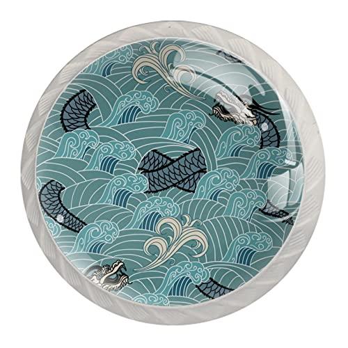 ATOMO 4 pomos de gabinete para cajón, aparador, gabinetes de cocina, armario, baño, diseño de dragón azul oriental en la onda
