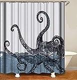 JOOCAR Design Duschvorhang, Octopus Vintage Schwarz Weiß Marine Kraken Meer Monster Tentakel Blau Ozean Wasser Wasserdicht Tuch Stoff Badezimmer Dekor Set mit Haken
