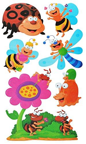 alles-meine.de GmbH 7 TLG. Set: XL Wandtattoo / Sticker - Schmetterling + Marienkäfer + Bienen - Wandsticker Aufkleber - für Kinder - Raupe Schmetterlinge auch als Fensterbild / ..