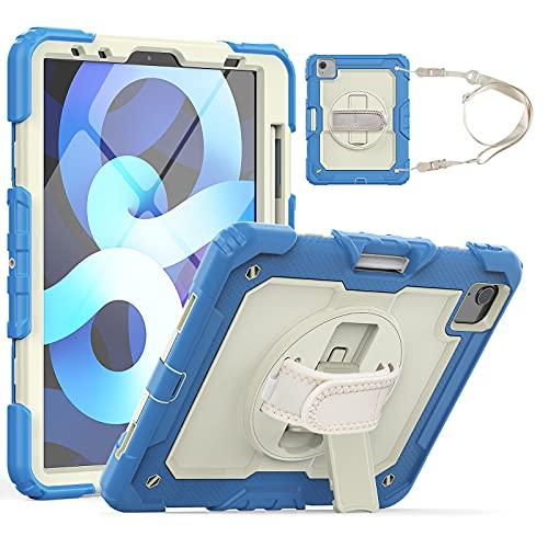 HaoHZ Funda para iPad Pro 11 2nd / 3rd Generation 2021/2020/2018 con Portalápices, Funda Protectora De Silicona A Prueba De Golpes + Soporte + Asa para Hombro,Azul