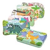 BBLIKE Puzzle Infantil de Dinosaurios para niños, puzle de 5 imágenes, puzle de Madera, Adecuado para niños y niñas a Partir de 3, 4 y 5 años (Rompecabezas de Dinosaurios)