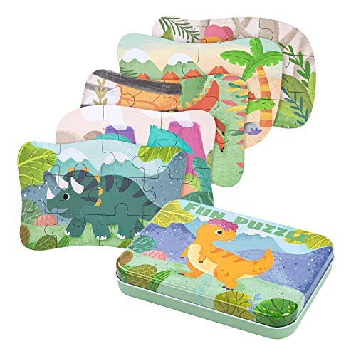 BBLIKE Kinderpuzzle,Dinosaurier Puzzle für Kinder,5 Bilds Puzzles, Geeignet für Jungen und Mädchen holzpuzzle ab 3 4 5 Jahren
