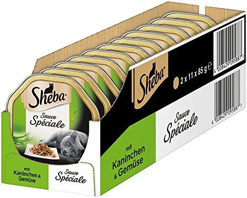 Sheba - Cibo per gatti speciale, alimenti umidi di alta qualità in salse selezionate, Coniglio e verdure in salsa, 22 Ciotole (2 x 11 x 85 g)