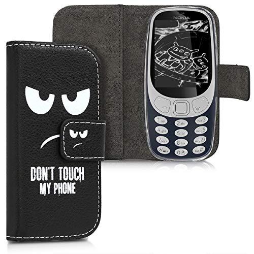 kwmobile Nokia 3310 3G 2017 / 4G 2018 Hülle - Kunstleder Wallet Case für Nokia 3310 3G 2017 / 4G 2018 mit Kartenfächern & Stand - Don't Touch My Phone Design Weiß Schwarz