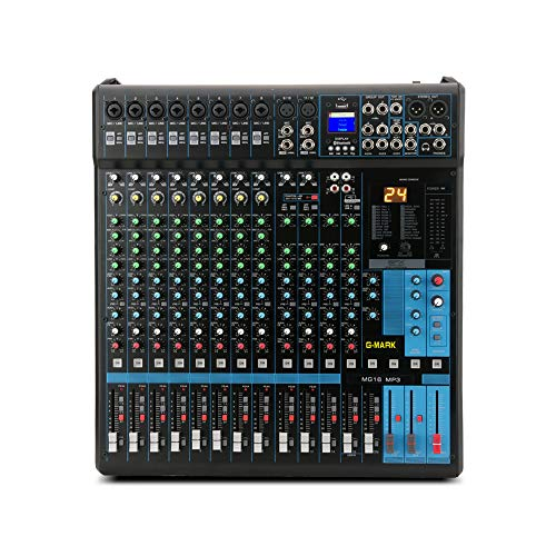 G-MARK Professional Audio Mixer Sound Board Console System Interface 16 Channel Digital USB Bluetooth MP3 Computer Input 48V Phantom Power Stereo DJ 24-Bit SPX effects